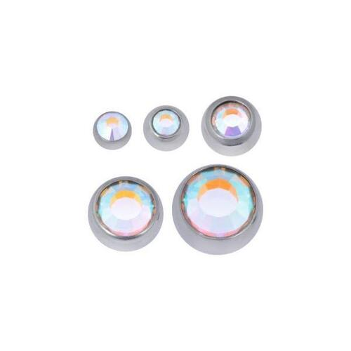Titanium Highline® Faceted Jewelled Threaded Balls : 1.2mm (16ga) x 2.5mm x Crystal AB